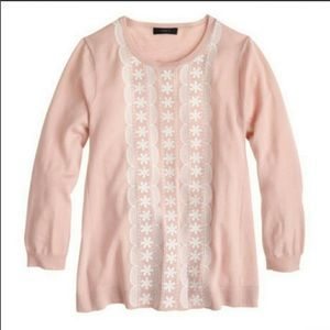 J CREW Sweater Floral Embroidered Small